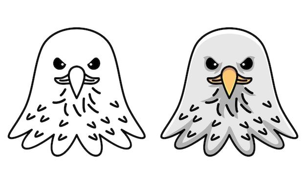 Página para colorir de águia fofa para crianças