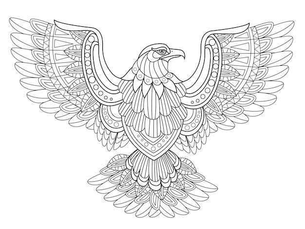 Página para colorir de águia voadora em estilo requintado