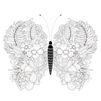 Página para colorir de borboleta elegante em estilo requintado