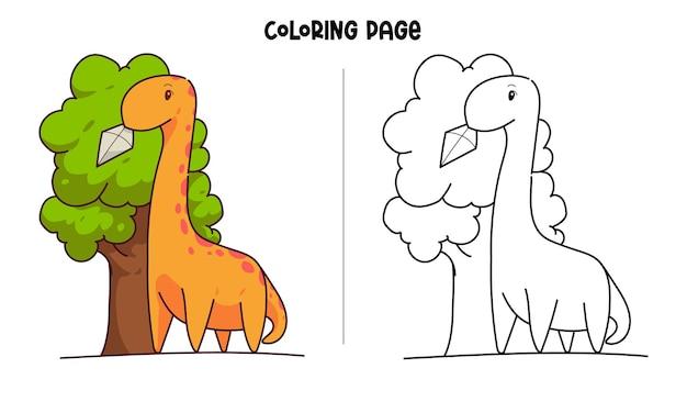 Página para colorir de brontossauro com uma pipa presa na árvore