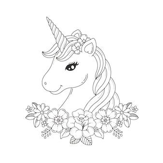 Página para colorir de cabeça de unicórnio com guirlanda de flores