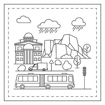 Página para colorir de cidade para crianças