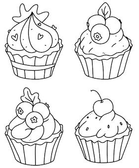 Página para colorir de cupcakes bonitos. conjunto de cupcake. ilustração em vetor doodle contorno. um conjunto de bolinhos.