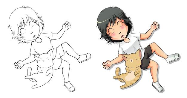 Página para colorir de desenho animado amante de gatos para crianças