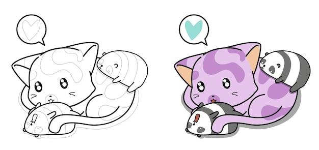 Página para colorir de desenho animado de gato gigante e pandas pequenos