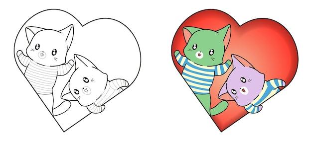 Página para colorir de desenho animado de gatos em coração para crianças