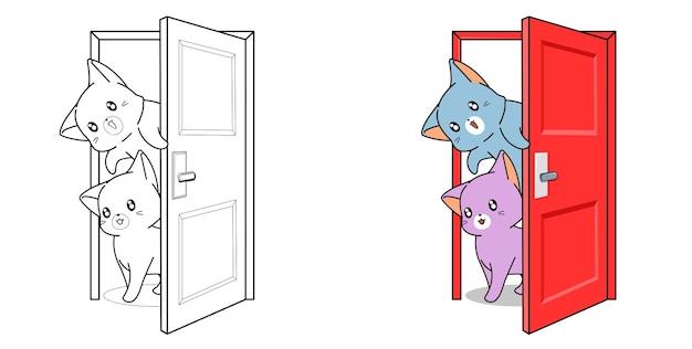 Página para colorir de desenho animado gatos na porta para crianças
