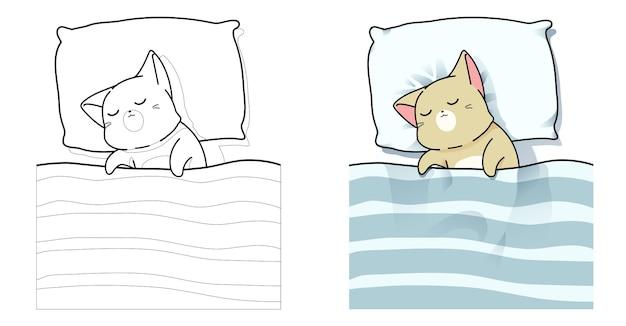 Página para colorir de desenho animado o gato está dormindo