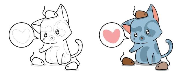 Página para colorir de desenho de gato fofo e ratinhos para crianças