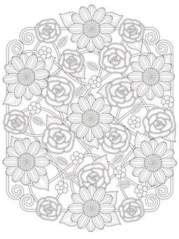 Página para colorir de desenho floral adorável em linha requintada
