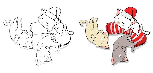 Página para colorir de desenhos animados de gatos fofos dormindo