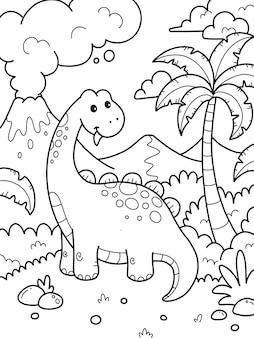 Página para colorir de dinossauros para crianças
