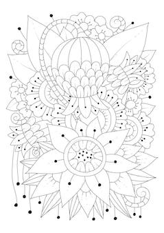 Página para colorir de flores de fantasia de arte