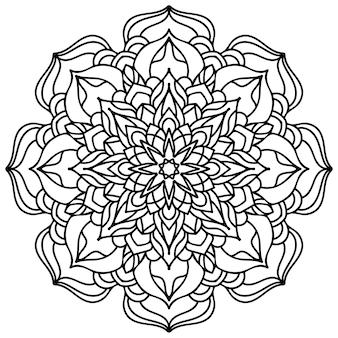 Página para colorir de flores de mandala. renda floral. design étnico.