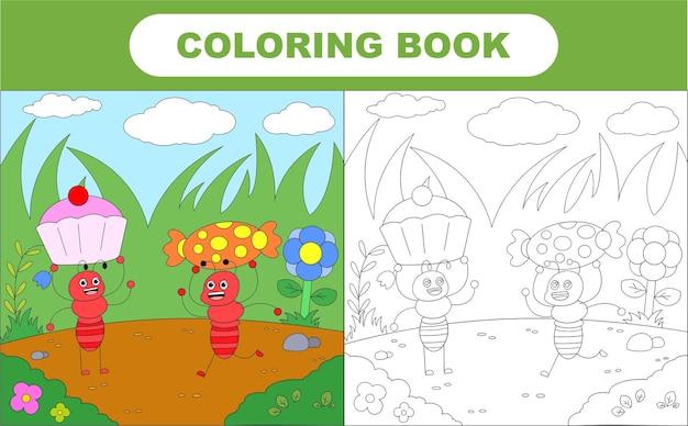 Página para colorir de formiga fofa