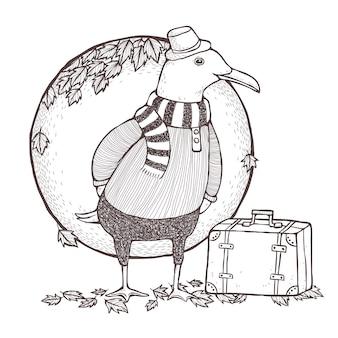 Página para colorir de gaivota viajada em estilo de linha requintado