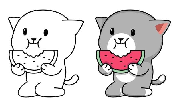 Página para colorir de gato comendo melancia para crianças