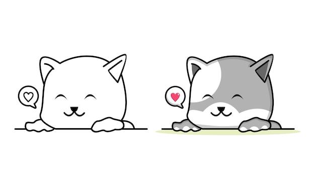 Página para colorir de gato dormindo para crianças