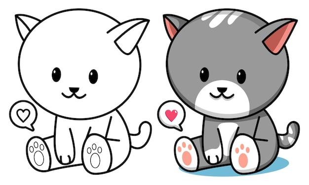 Página para colorir de gato fofo para crianças