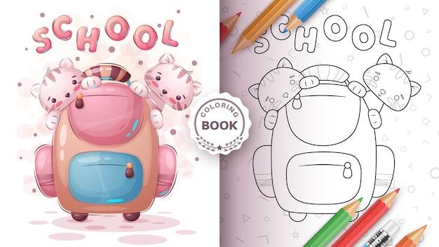 Página para colorir de gatos na escola
