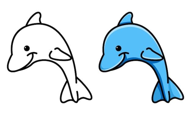 Página para colorir de golfinhos fofos para crianças