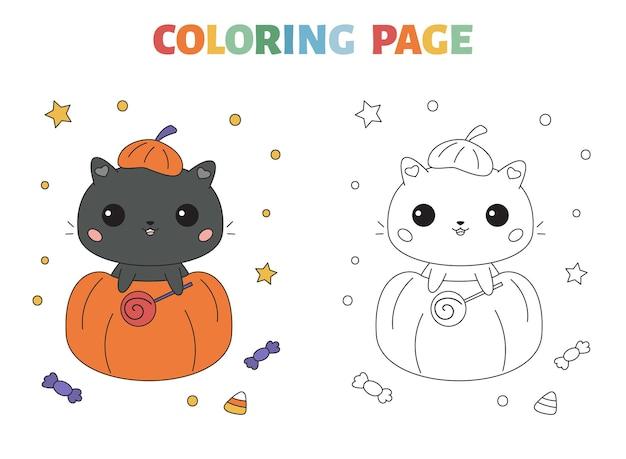 Página para colorir de halloween com um lindo gato preto na abóbora