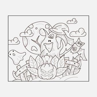 Página para colorir de halloween doodles line art