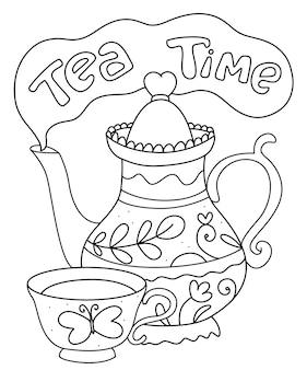 Página para colorir de hora do chá. jarro doodle, xícara, chá.