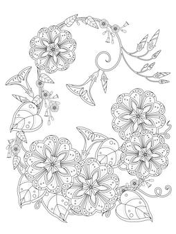 Página para colorir de ipomeia elegante em linha requintada