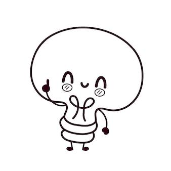 Página para colorir de lâmpada bonito. projeto do ícone do vetor plana dos desenhos animados do personagem kawaii. kittie, conceito de pacote de cara de gato. delinear a lâmpada da ilustração dos desenhos animados, lâmpada para livro de colorir