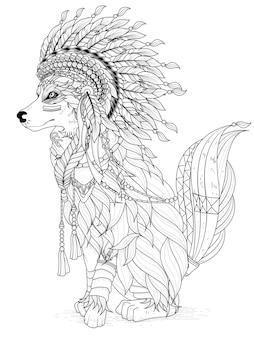 Página para colorir de lobo adulto de estilo indiano adorável