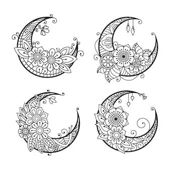 Página para colorir de lua crescente coleção de elementos de decoração de lua