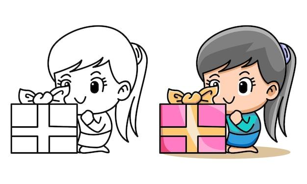 Página para colorir de menina com caixa de presente para crianças