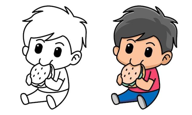 Página para colorir de menino fofo comendo hambúrguer para crianças