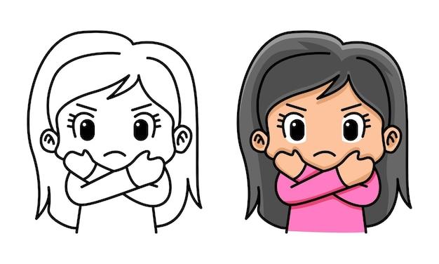 Página para colorir de mulher com gesto de braços cruzados para crianças