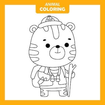 Página para colorir de ocupação de trabalho de geógrafo tigre animal fofo
