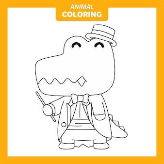 Página para colorir de ocupação de trabalho de maestro crocodilo animal fofo
