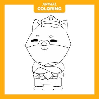 Página para colorir de ocupação de trabalho policial animal fofo