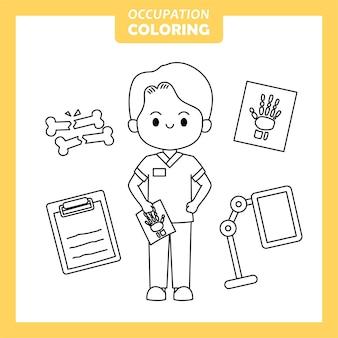 Página para colorir de ocupação do trabalho do inspetor de raios x