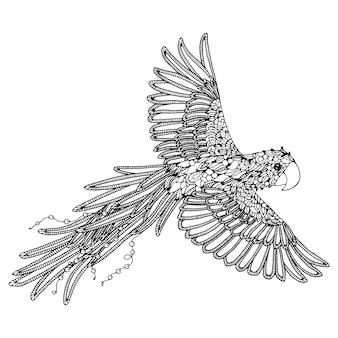 Página para colorir de papagaio arara vermelha