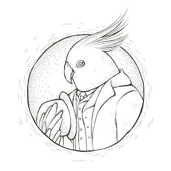 Página para colorir de papagaio cavalheiro em estilo de linha requintado