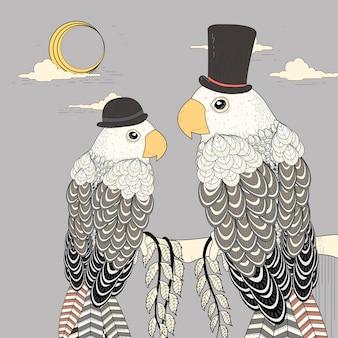 Página para colorir de papagaios elegantes em estilo requintado