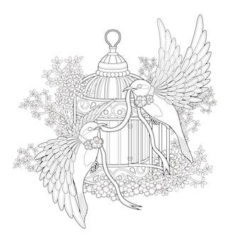 Página para colorir de pássaro elegante em estilo requintado