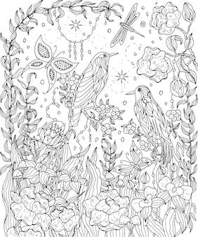 Página para colorir de pássaros e flores pássaros do paraíso