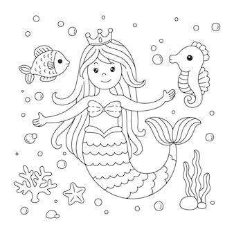 Página para colorir de pequena sereia fofa com peixes e cavalos-marinhos