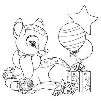 Página para colorir de pequenos cervos de natal