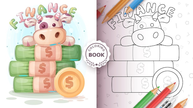 Página para colorir de personagem de desenho animado com dinheiro