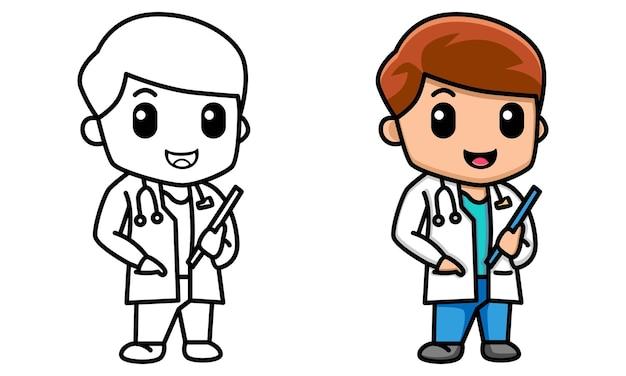 Página para colorir de personagem de médico fofinho para crianças