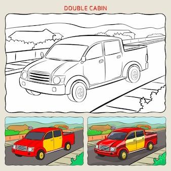 Página para colorir de pickup de cabine dupla no fundo com duas amostras de coloração