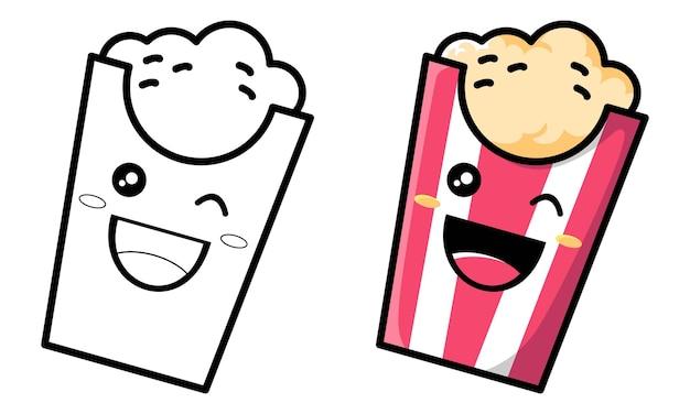 Página para colorir de pipoca fofa para crianças